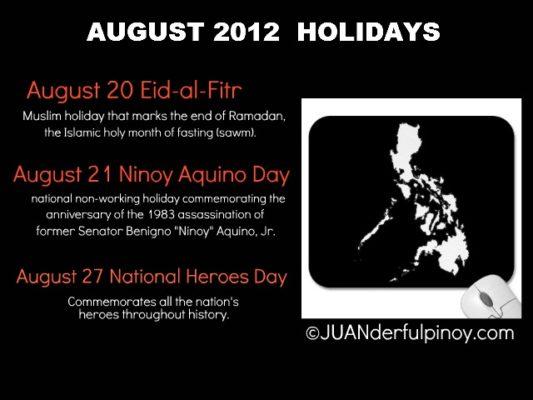 August 2012 Holidays