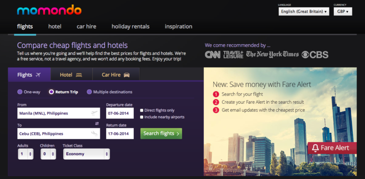 momondo search for cheap flights