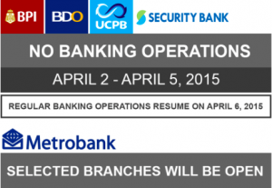 Banking Hours Schedule Holy Week 2015 Announced
