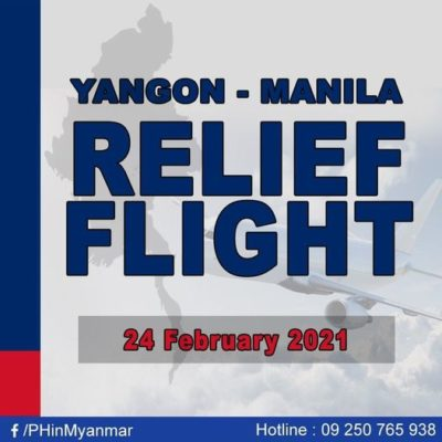 Philippine Embassy in Myanmar announces relief flight for Filipinos